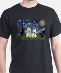 Starry-2Westies (custom) T-Shirt