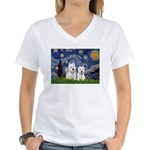 Starry-2Westies (custom) Women's V-Neck T-Shirt