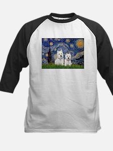 Starry-2Westies (custom) Kids Baseball Jersey