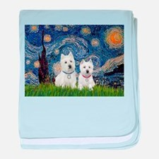 Starry-2Westies (custom) baby blanket