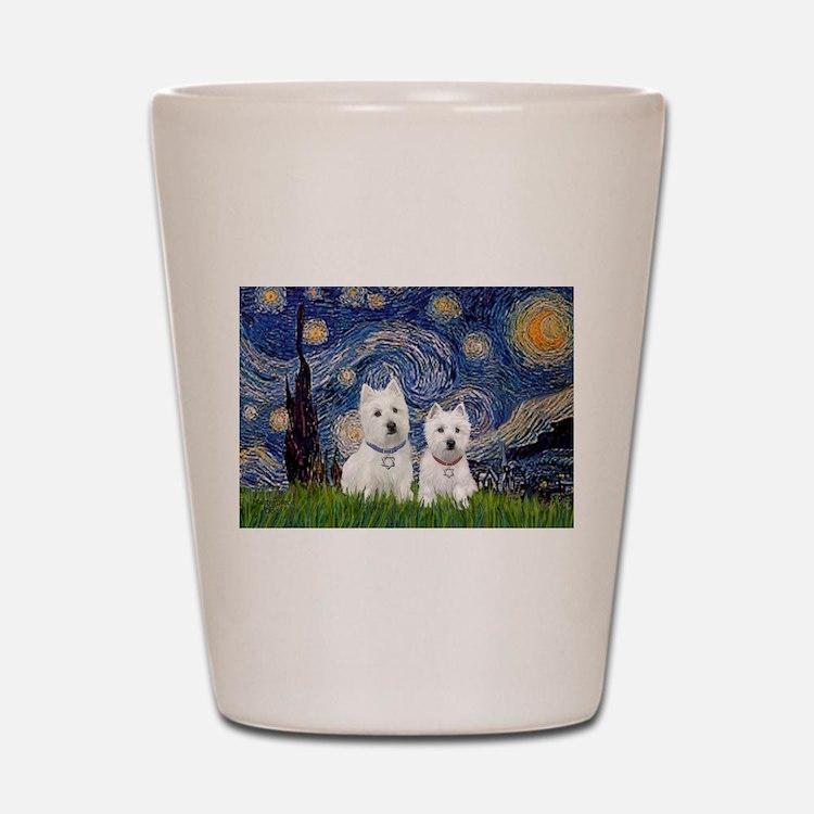 Starry-2Westies (custom) Shot Glass