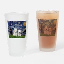 Starry-2Westies (custom) Drinking Glass
