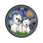 Starry-2Westies (custom) Wall Clock