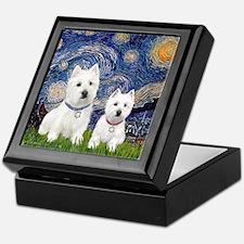 Starry-2Westies (custom) Keepsake Box