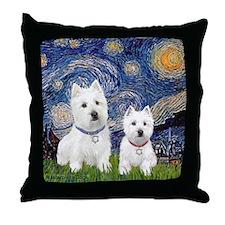 Starry-2Westies (custom) Throw Pillow