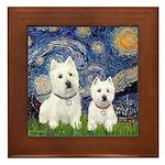 Starry-2Westies (custom) Framed Tile