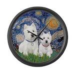 Starry-2Westies (custom) Large Wall Clock