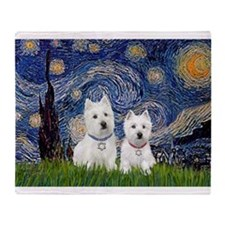 Starry-2Westies (custom) Throw Blanket