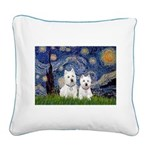 Starry-2Westies (custom) Square Canvas Pillow
