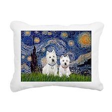 Starry-2Westies (custom) Rectangular Canvas Pillow
