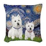 Starry-2Westies (Custom) Woven Throw Pillow