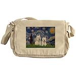 Starry-2Westies (custom) Messenger Bag