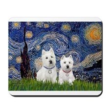 Starry-2Westies (custom) Mousepad