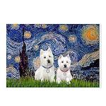 Starry-2Westies (Custom) Postcards (Package Of 8)