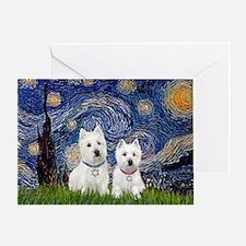 Starry-2Westies (custom) Greeting Card