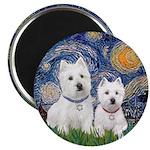 Starry-2Westies (custom) Magnet