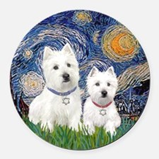 Starry-2Westies (custom) Round Car Magnet