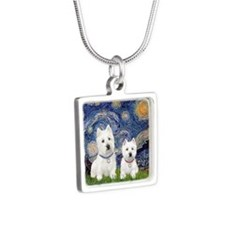 Starry-2Westies (custom) Silver Square Necklace