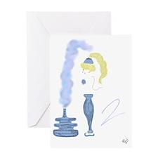 Genie Smoke Blue smoke Greeting Card