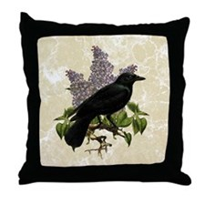 lilac-and-crow_9x12 Throw Pillow