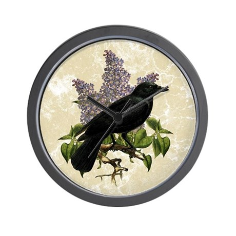 lilac-and-crow_9x12 Wall Clock