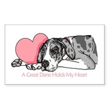 MerleB UC Holds Heart Rectangle Decal