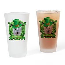 Happy St Patricks Day Westie Drinking Glass