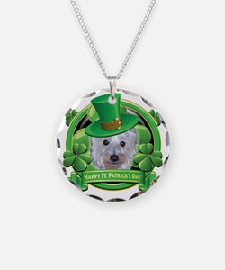 Happy St Patricks Day Westie Necklace Circle Charm