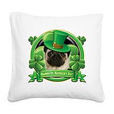 Happy St Patricks Day Pug Square Canvas Pillow