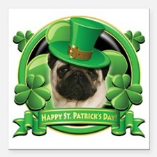 "Happy St Patricks Day Pu Square Car Magnet 3"" x 3"""