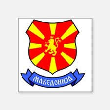 "Macedonia Lion Crest Crown  Square Sticker 3"" x 3"""