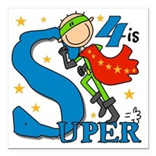 "BIRTHDAYSUPER4 Square Car Magnet 3"" x 3"""