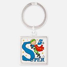 BIRTHDAYSUPER5 Square Keychain
