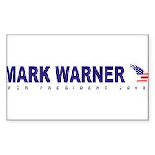 Mark Warner for president Rectangle Decal