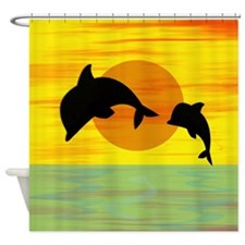 dolphins at sunset Shower Curtain