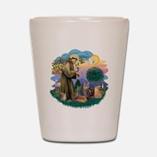 St Francis (ff) - Rev 2 - 4 cats Shot Glass