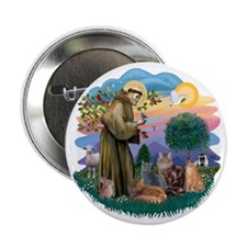 "St Francis (ff) - Rev 2 - 4 cats 2.25"" Button"