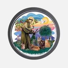 St Francis (ff) - Rev 2 - 4 cats Wall Clock