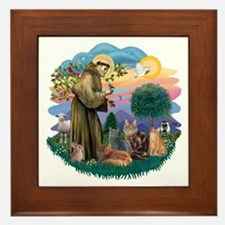 St Francis (ff) - Rev 2 - 4 cats Framed Tile