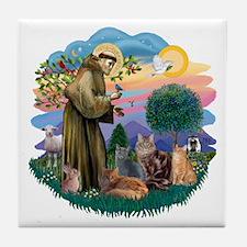 St Francis (ff) - Rev 2 - 4 cats Tile Coaster