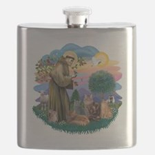 St Francis (ff) - Rev 2 - 4 cats Flask