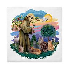 St Francis (ff) - Rev 2 - 4 cats Queen Duvet