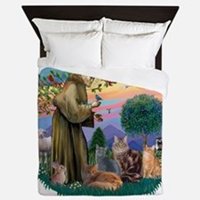 St Francis (ff) - Rev 2 - 4 cats Queen Duvet