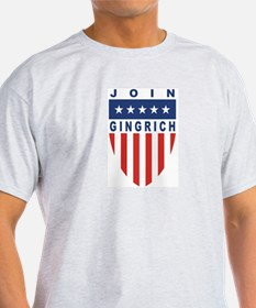 Join Newt Gingrich Ash Grey T-Shirt