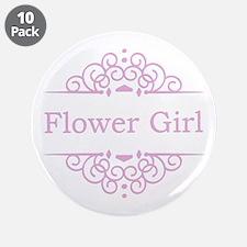 "Flower Girl pink 3.5"" Button (10 pack)"