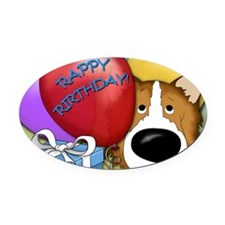 CollieBDayCard Oval Car Magnet