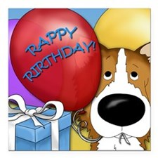 "CollieBDayCard Square Car Magnet 3"" x 3"""