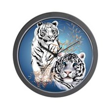 White Tigers _pillow Wall Clock
