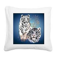 White Tigers _pillow Square Canvas Pillow