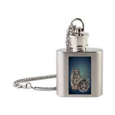 Two White Tigers  441_iphone_caseP Flask Necklace